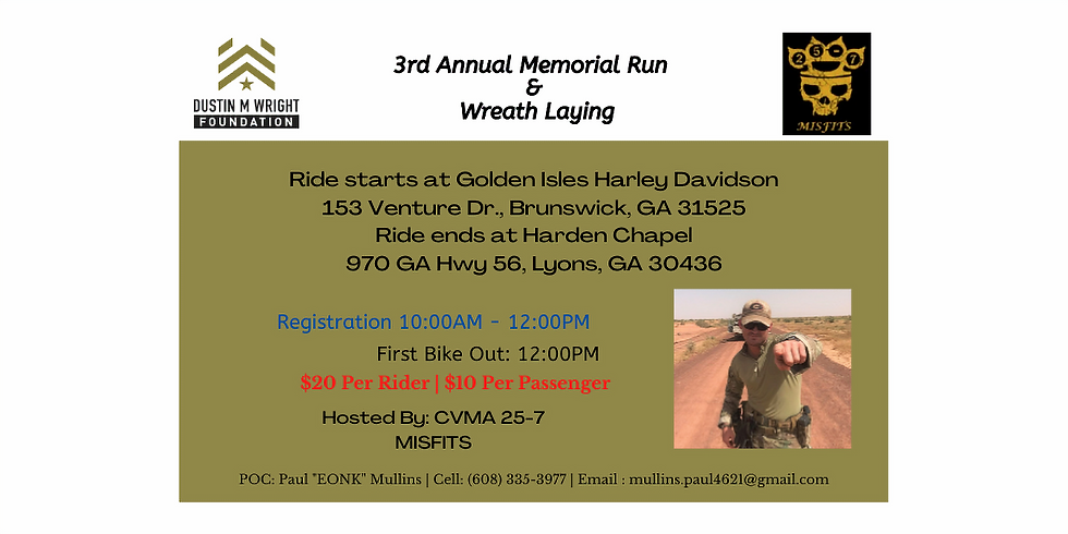 3rd Annual Memorial Ride & Wreath Laying