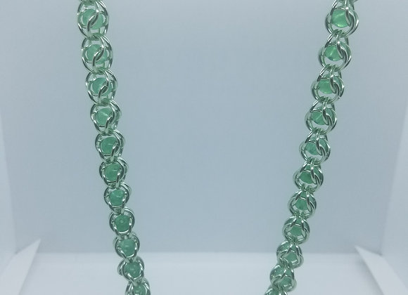 Adventurine beaded necklace and earrings set