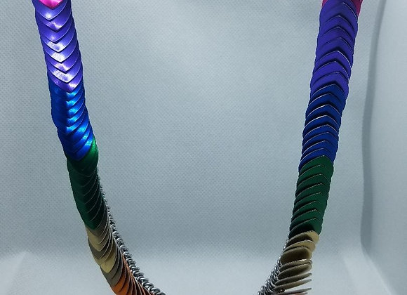 Rainbow wave scale necklace