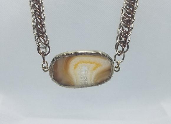 Agate slice pendant necklace