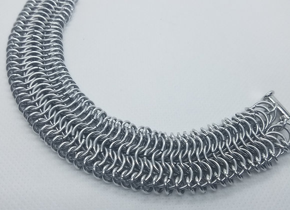 Silver chainmaille cuff