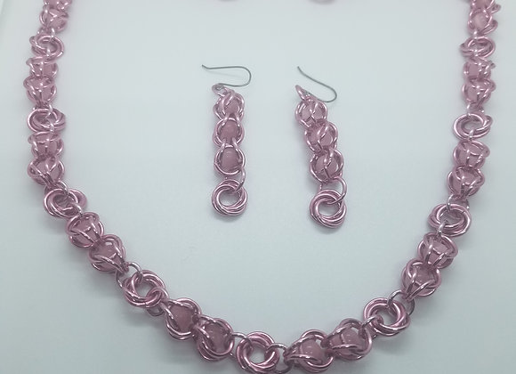 Pink Cat's Eye necklace and earrings set