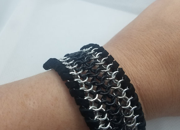 Leather and aluminum cuff