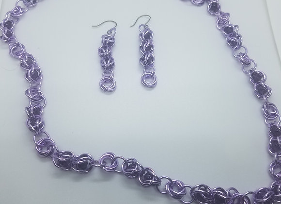 Amethys beaded necklace and earrings  set