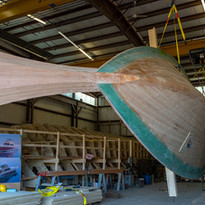 The modular building process being used on the Hood 57 is an innovation in wood-composite boat building.