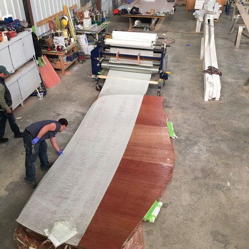 Meanwhile, crews are infusing the transom piece.