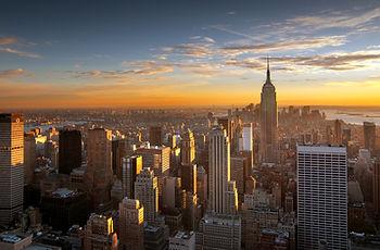 Ciudad de la puesta del sol sobre Nueva York
