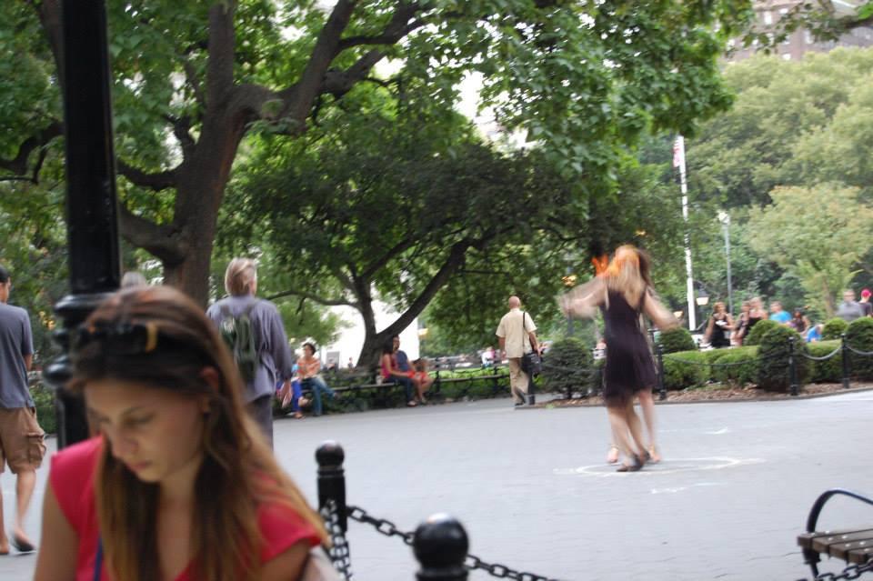 Dancers in Washington Square Park.