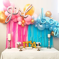 Gender reveal balloon garland boy girl foils
