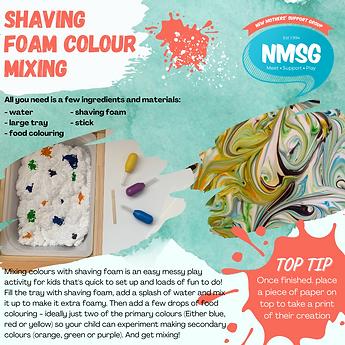Shaving foam colour mixing - messy play.