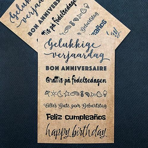 Gelukkige Verjaardag (verschillende talen)