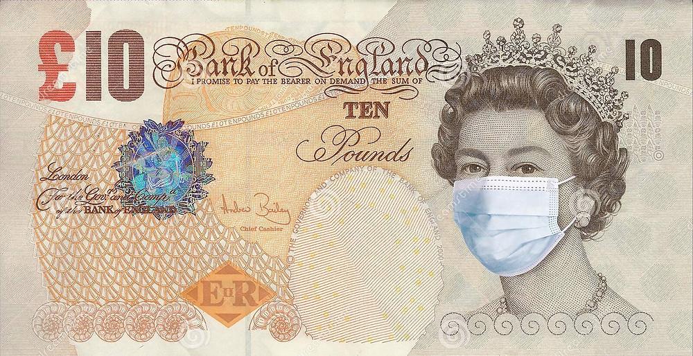 Comedic representation of £10 note amid coronavirus crisis.