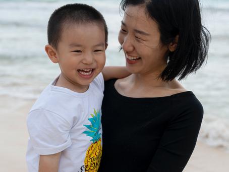 Mother and Son at Waimanalo Beach, Oahu, Hawaii