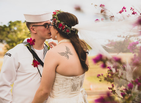 Wedding Portraits at Kaka'ako Waterfront Park, Oahu, Hawaii