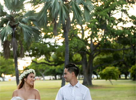 Couple's Photography at Ala Moana Beach Park, Oahu, Hawaii