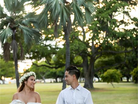 Couple's Photography at Ala Moana Beach Park, Oahu, Hawaii
