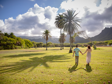 13 years of wedded bliss at Kualoa Beach Park, Oahu, Hawaii