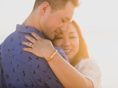 Couple's photos at Ala Moana Beach Park, Oahu, Hawaii