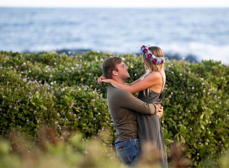 Portraits of a couple in love on Oahu, Hawaii