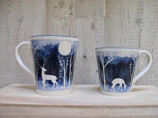 Blue Stag. Large & Small Mug.