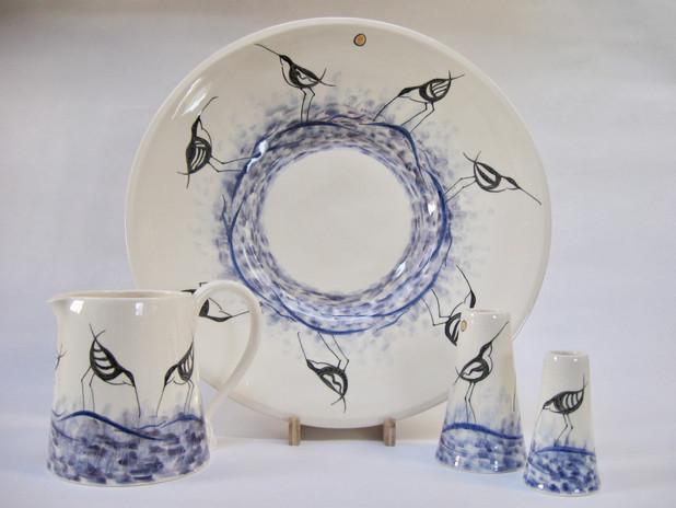 Avocet. Large dish, Medium Jug, Medium & Small Vase.