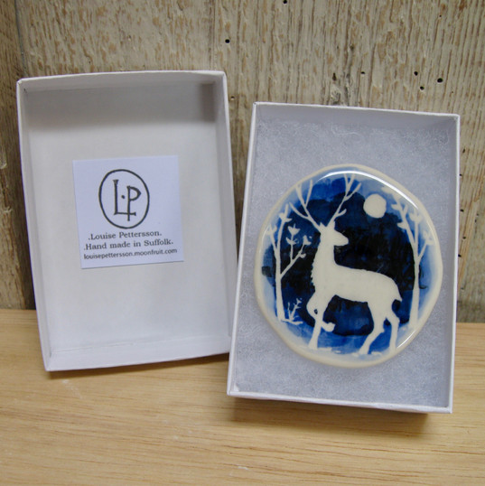 Blue Stag Brooch