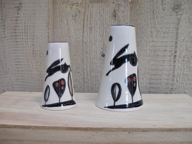 Black Hare. Medium & Small Vase.