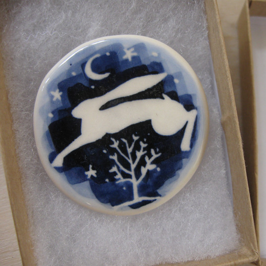 Blue Leaping Hare & Tree
