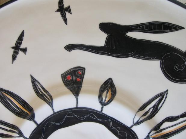 Black Hare. Large dish, Design Close up.