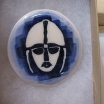 Sutton Hoo: The helmet is an iconic symbol of the site, I have represented it in blue wax resist as I thought this was the most effective way for me to show it.