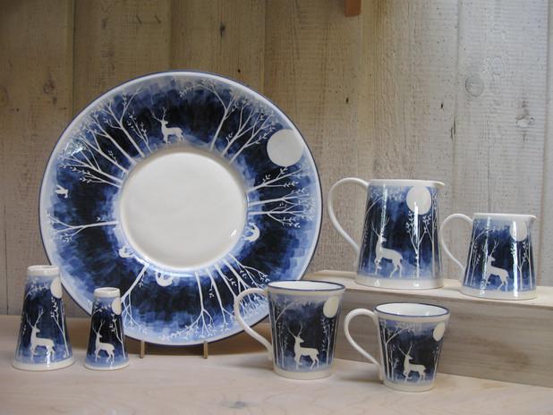 Blue Stag Design. Large Dish, Medium Jug, Small Jug, Large Mug, Small Mug, Medium Vase & Small Vase