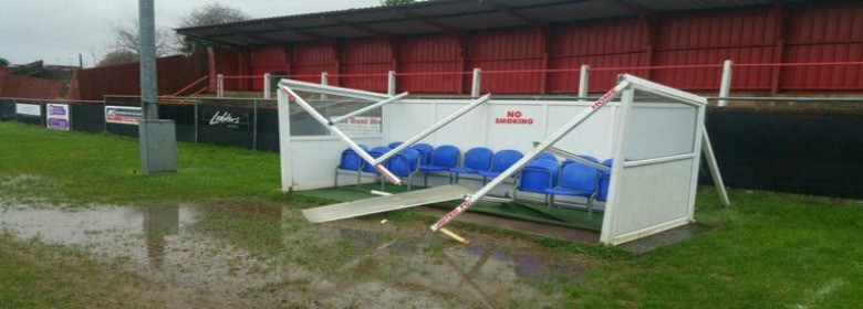 Redditch United's dug out ruined by the weather