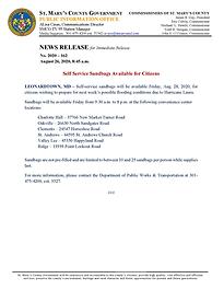Press Release - Sandbag Availability for