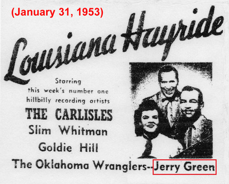 1953 Hayride Ad Featuring Jerry K. Green