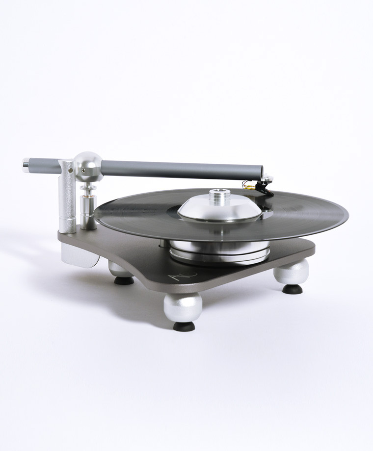 Audio Deva Atmo Sfera platterless turntable in silver with vinyl record
