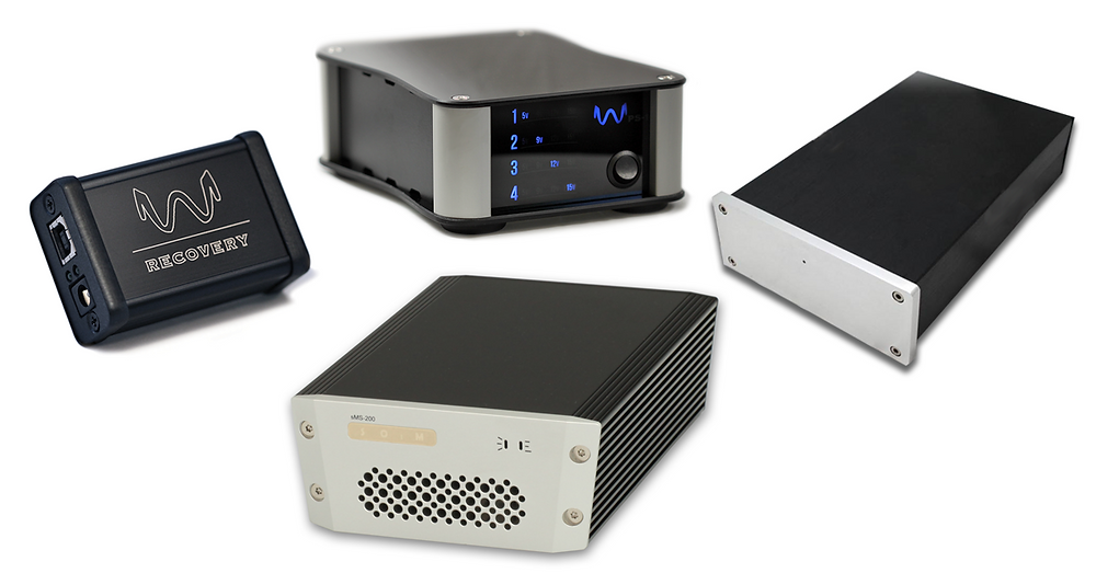 SOtM sMS-200 Mini Network Player, Wyred 4 Sound Recovery USB Reclocker, Wyred 4 Sound PS-1 Modular Linear Power Supply and Fidelizer Nikola Linear Power Supply
