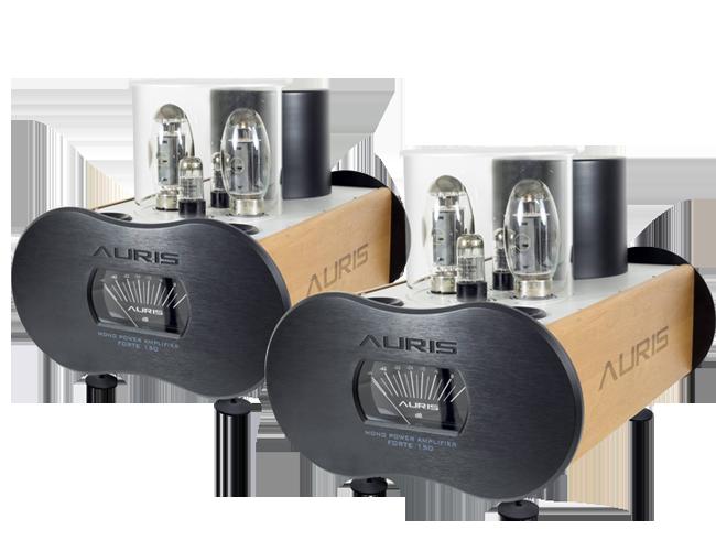 Pair of Auris Audio Forte 150 amplifier in black