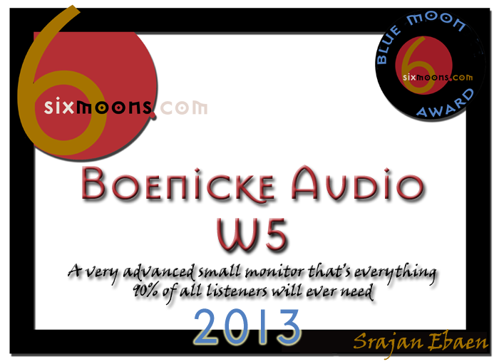 6moons Blue Moon award certificate for Boenicke W5 loudspeakers