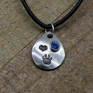 Pewter Drop Paw Print with Crystal