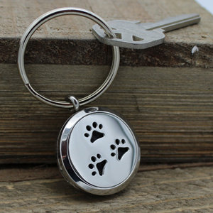 Three Paw Prints Diffuser Keychain
