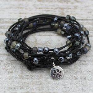 Abacus Black Leather Wrap Bracelet