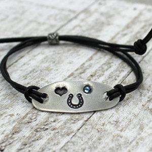 Horseshoe Tab Bracelet with Crystal