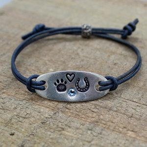 Woof & Hoof Tab Bracelet with Crystal