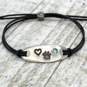 Paw Print Tab Bracelet with Crystal