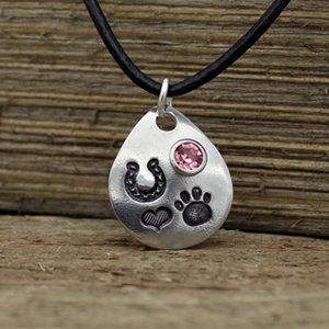 Pewter Drop Horseshoe & Paw Print with Crystal