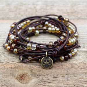 Abacus Brown Leather Wrap Bracelet