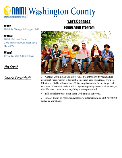 Let's Connect Young Adult Flyer without