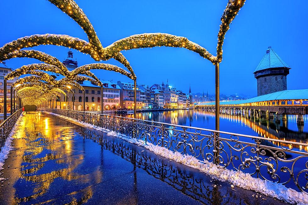 Lucerne Old town, Switzerland, decorated