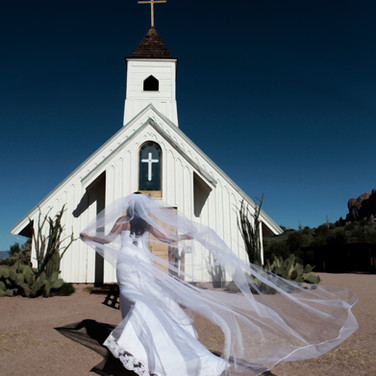 Bride going in to Church Phoenix