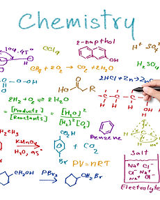 teacher hand writing science and chemica